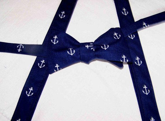 Men's Wedding SUSPENDERS and BOW TIE   set - adjustable - Navy with white Anchors - Out to Sea by Sara Jane - Nautical - Cotton on Etsy, $58.99