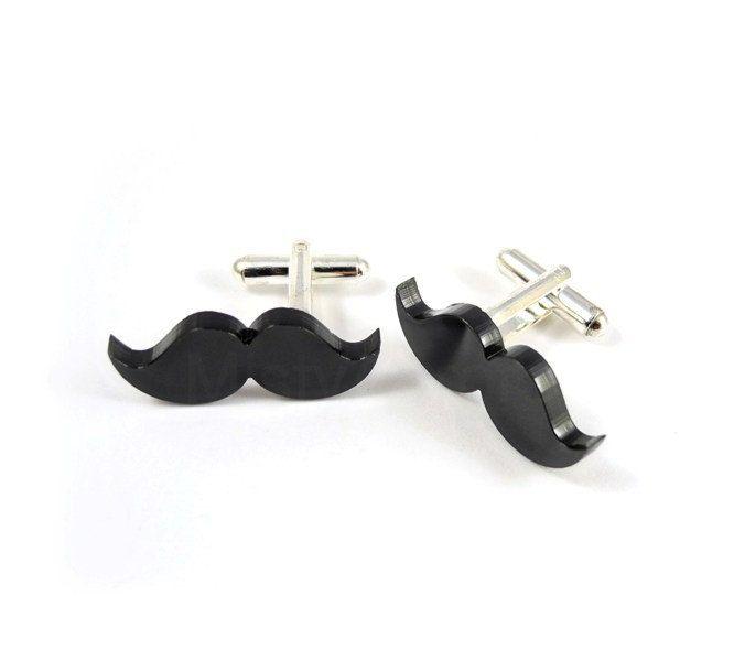 Mustache Cuff links - Black Mens Cufflinks - Moustache Cuff links - Mustache Party - Movember Awareness - Free Shipping