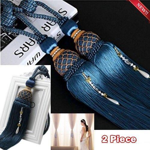 2Pcs Cord Tassel 6 Colors Tie Backs Ball Holdback Curtain Rope Tieback Vintage L