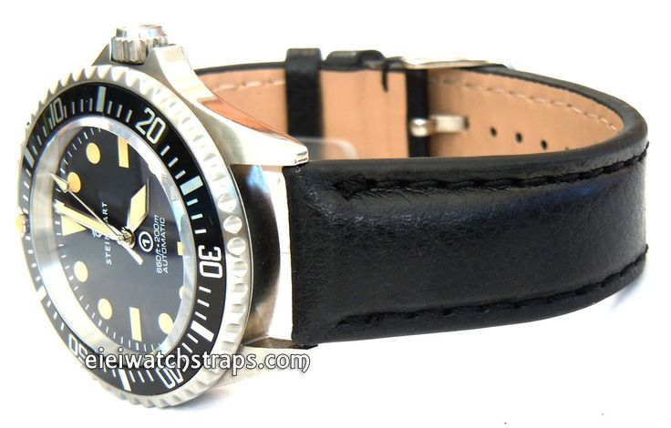 Black Leather Watchstrap For Steinhart Ocean Vintage Military