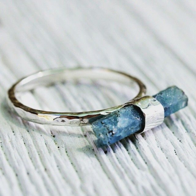 """Raw Aquamarine Wand ring www.bahgsujewels.com"