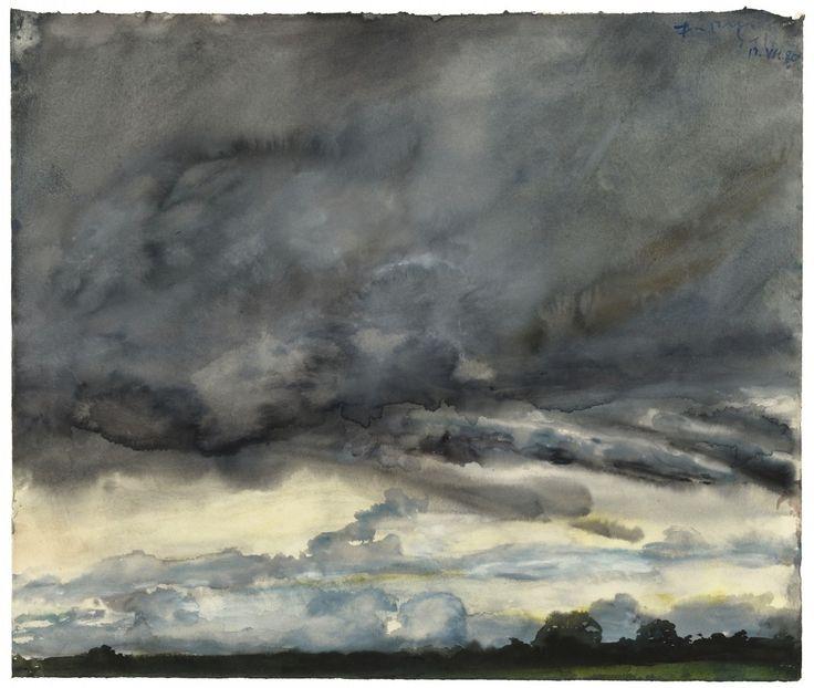 thunderstruck9:  Klaus Fußmann (German, b. 1938), Untitled, 1980. Watercolour on vellum card, 64 x 77cm.