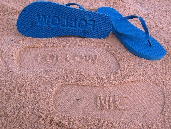Custom sand imprint flip flop sandals
