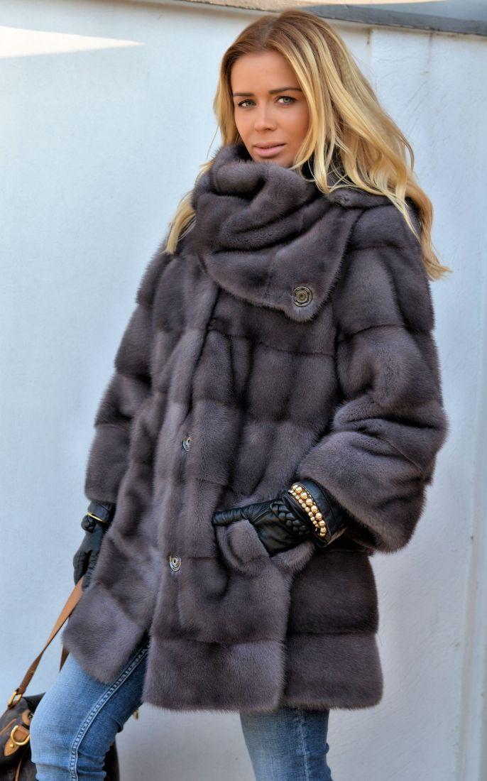 mink furs - fantastic graphite royal saga mink fur coat with golf