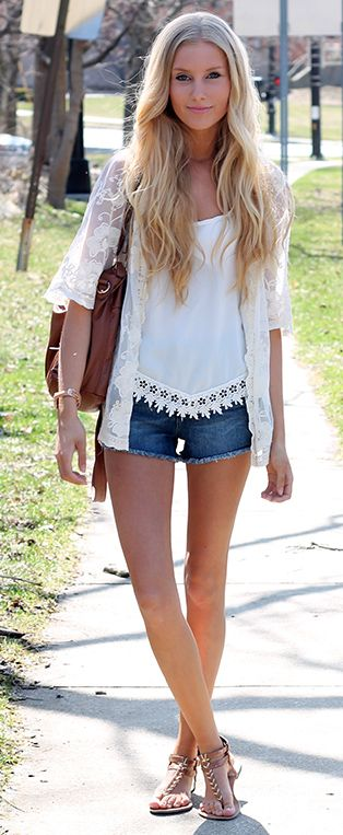 """How adorable is this lace cardigan? Nice detailing, perfect length... it's the perfect way to """"cover up"""" on a hot day."""