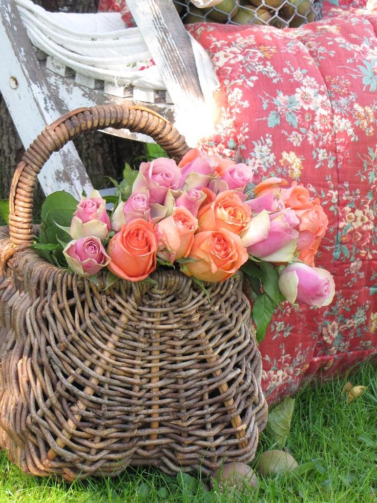 Roses in a vintage basket