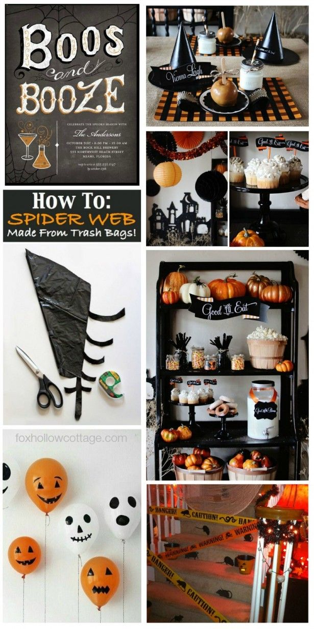 Black and Orange Halloween Party Decorating Ideas foxhollowcottage.com