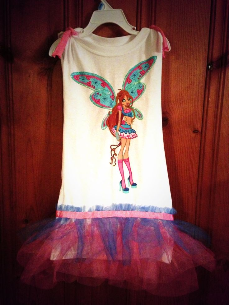 Morgan's winx bloom fairy party dress I made for her from a tshirt and tulle