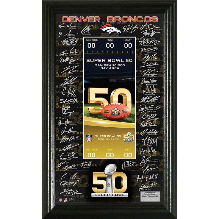 Denver Broncos Super Bowl 50 Signature Ticket