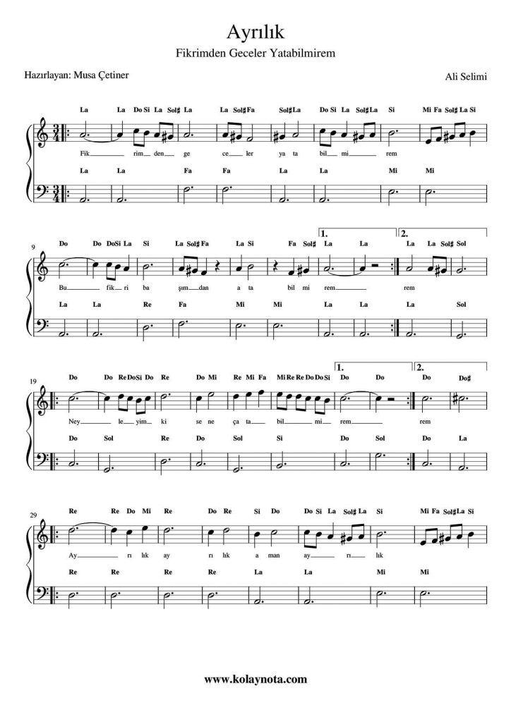 Fikrimden Geceler Kolay Piyano Notasi Kolaynota Com Nota Arsivi Pi Yano Notalara Dokulmus Muzik Flut