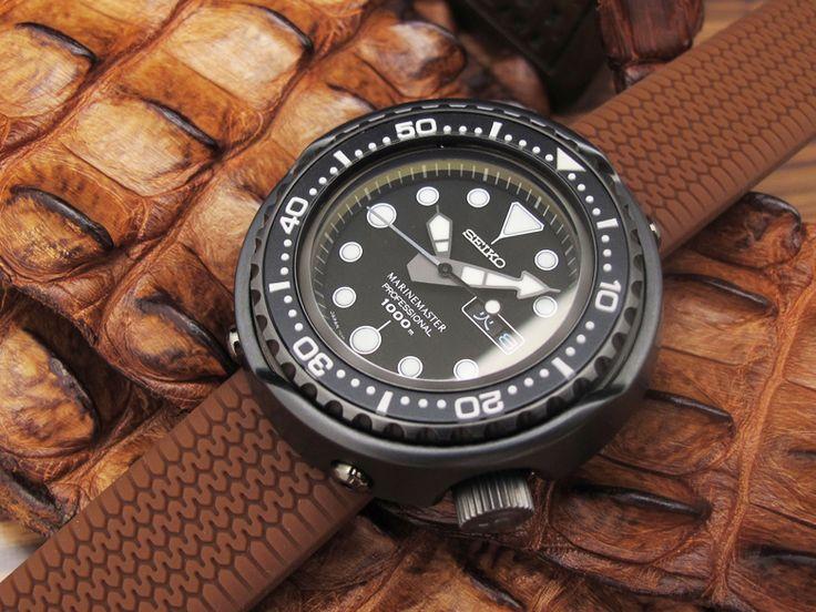Seiko Tuna Marine Master SBBN013 1000m on 22mm Choco Tire Tread Silicone Strap on PVD Black Deployant Clasp