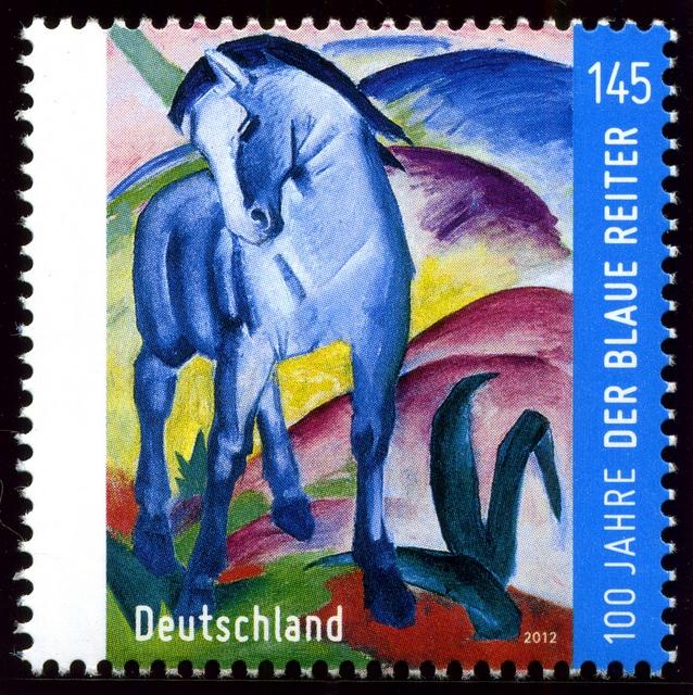 """Germany/Deutschland. 2012 - Der Blaue Reiter. Art depicted is """"Blue Horse I"""" (1911) by Franz Marc, a member of the Der Blaue Reiter School (The Blue Rider) which was a group of artists united in rejection of the Neue Künstlervereinigung München in Munich, Germany"""