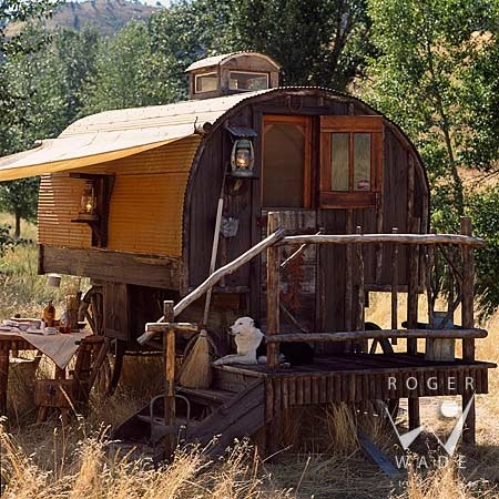 A shpherds wagon I think...but how charming it could be!  #Tiny Spaces #Wagon