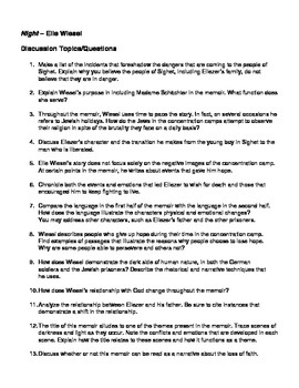 Examples Of Thesis Statements For Argumentative Essays Night  Elie Wiesel   Discussion Questions  Topics American And French Revolution Essay also Essay On Demand  Best Night  Elie Wiesel  Resources Images On Pinterest  High  Topics For Descriptive Essay