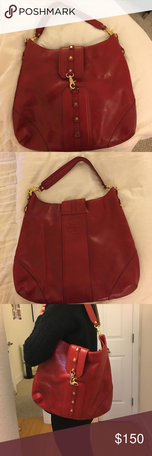 Tory Burch red hobo shoulder bag Red Tory Burch Hobo shoulder bag. A great pop of color to accent any outfit. Tory Burch Bags Shoulder Bags