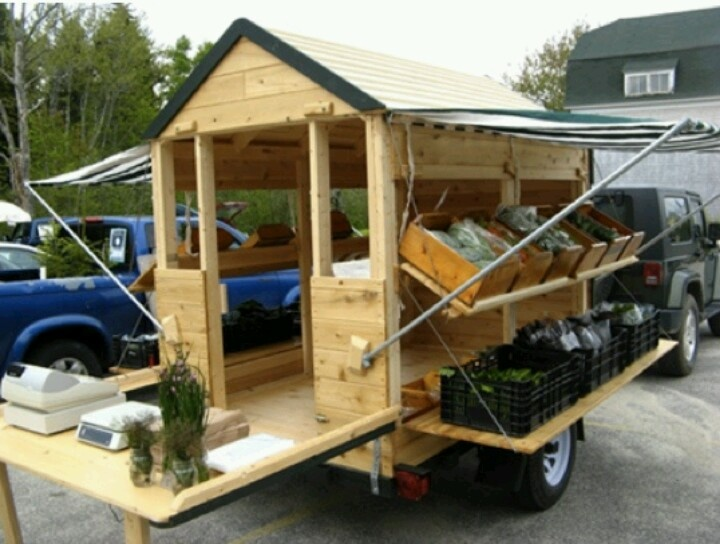 Do something like this for my produce, meat, diary, and soaps. Will need to be solar powered to house freezers and refrigerators for cold products. Will probably also need to be longer for all produce.