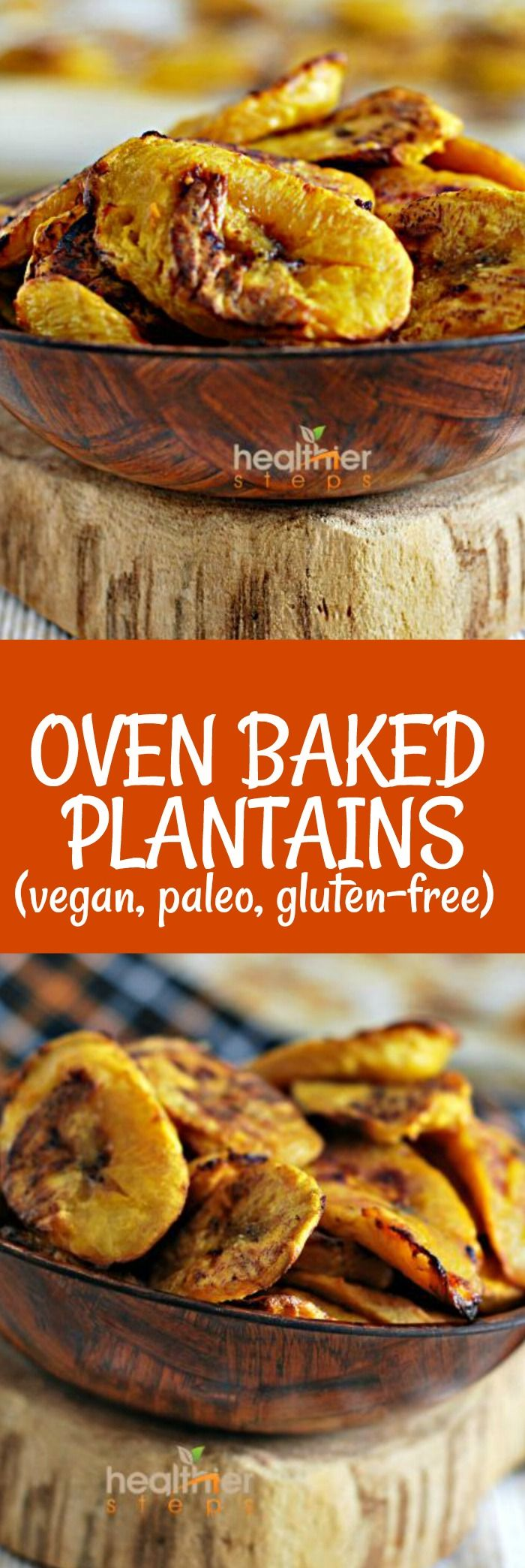 Oven Baked Plantains are a Caribbean staple this version is lower in fat than traditional fried plantains. Paleo, vegan and gluten-free #caribbean #jamaicanrecipes