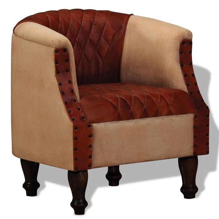 Chesterfield Lounge Armchair Genuine Real Leather Buttoned Tub Chair Brown Beige