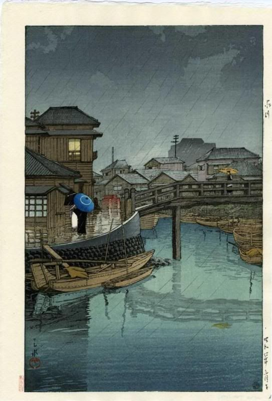 RAINY SEASON AT RYOSHIMACHI, SHINAGAWA, Hasui Kawase (1883-1957)