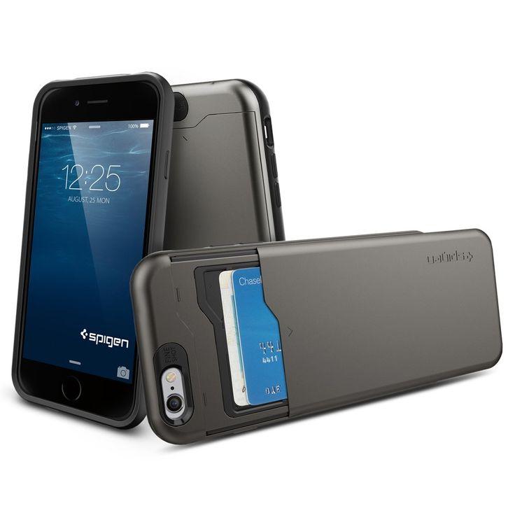 iPhone 6 Plus Case, Spigen® [Card Holder] iPhone 6 Plus (5.5) Case Wallet [Slim Armor CS] [Gunmetal] With Card Holder Advanced Shock Absorption Protective Wallet Case for iPhone 6 Plus (5.5) (2014) - Gunmetal (SGP10910)