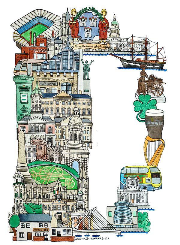 Dublin - ABC illustration series of European cities by Japanese illustrator Hugo Yoshikawa