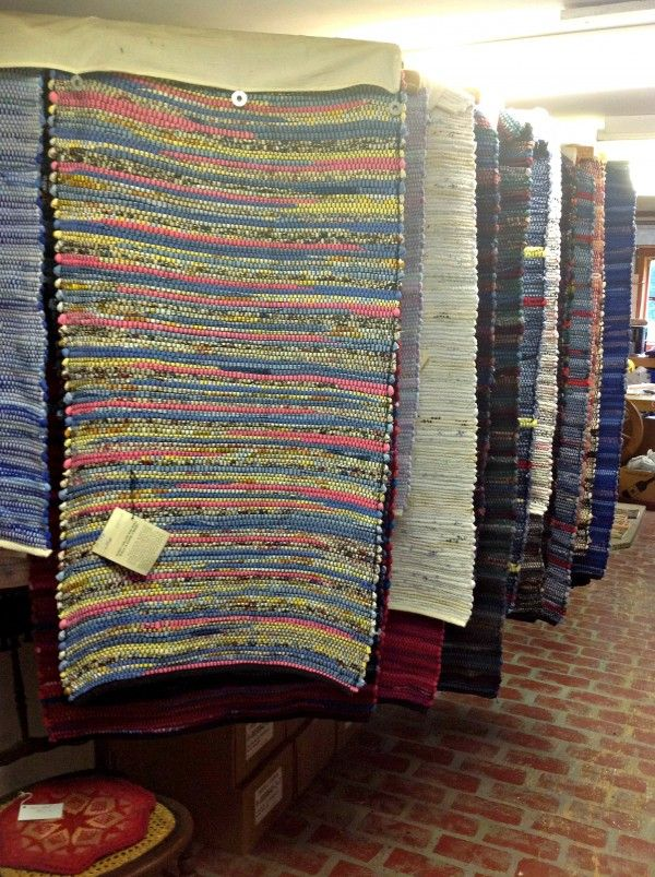 A display of finished rag rugs in the workshop of Diane and Wally O'Brien of Lincolnville.
