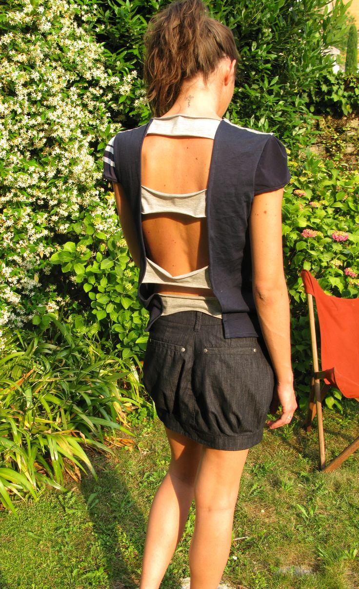 Maglia deauville, realizzata con la tecnica patchwork in jersey di cotone fantasia righe euro 55,00  Gonna palloncino, realizzata con tessuti jeans patchwork euro 95,00