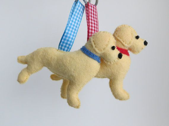 Hand sewn Golden Labrador Retriever felt dog by MisHelenEous NEW for 2015. Great valentines day gifts for dog lovers!