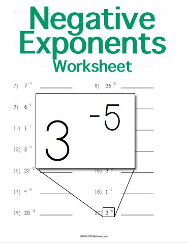 negative and zero exponents worksheet