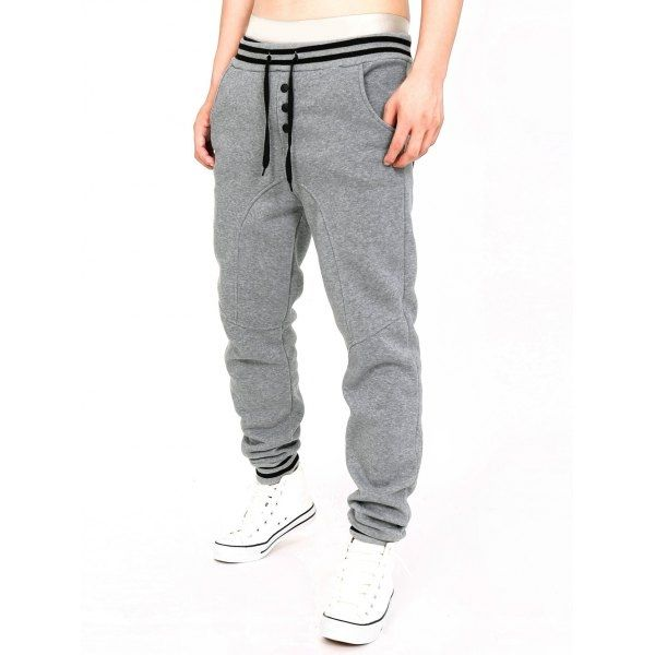 14.84$  Watch here - http://dicqy.justgood.pw/go.php?t=198621710 - Single-Breasted Stripe Splicing Jogger Pants