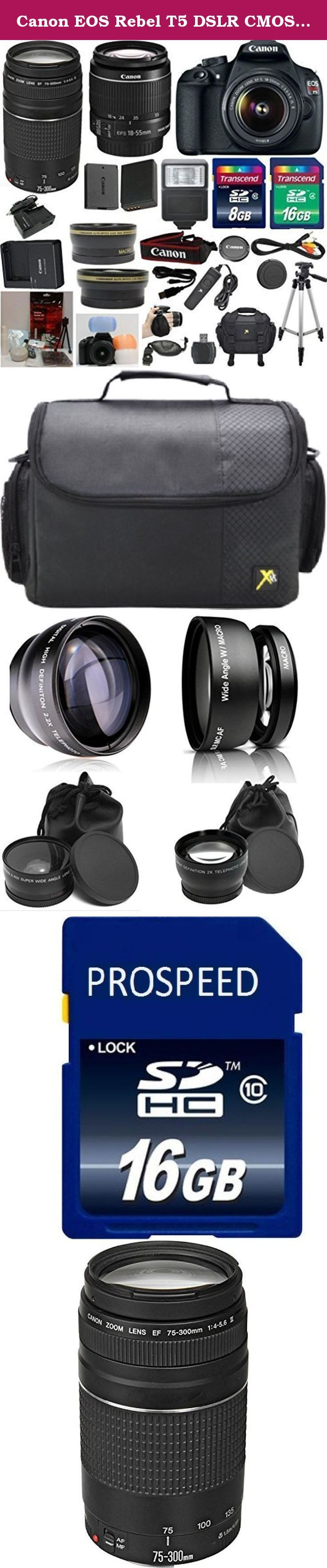Canon EOS Rebel T5 DSLR CMOS Digital SLR Camera and DIGIC Imaging 33rd Street Bundle with EF-S 18-55mm f/3.5-5.6 IS Lens + Canon 75-300mm III Zoom Lens + Wide Angle Auxiliary Lens + Telephoto Auxiliary Lens + Extra High Capacity Battery + Extra Worldwide Use Charger + Digital Flash + 6pc Commander Starter Kit + 24GB Accessory Kit. This 33rd Street Bundle Includes: Canon T5 Camera Body Canon 18-55mm IS Standard Zoom Lens Canon 75-300mm III Zoom Lens Commander Wide Angle Auxiliary Lens...
