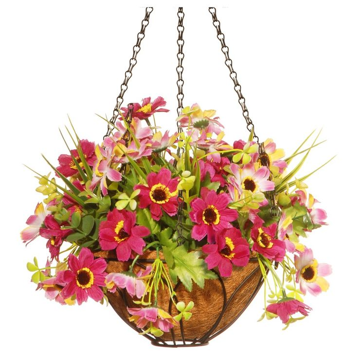 Cherry Blossom Artificial Hanging Basket Pink 13 - National Tree Company