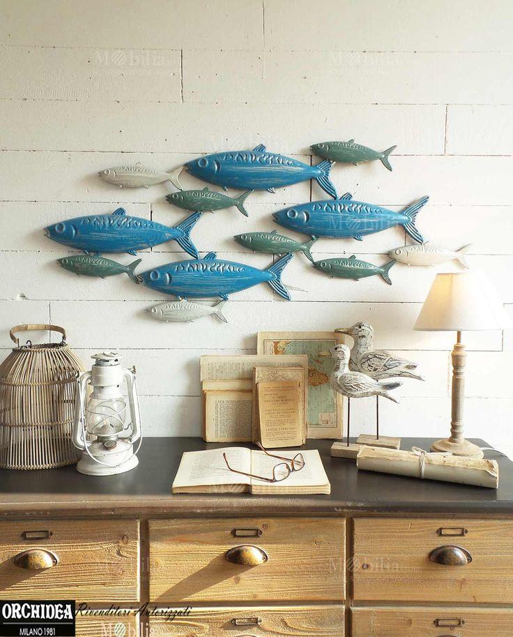 Pannelli parete decorativi con pesci realizzata in for Lettere in metallo per arredare
