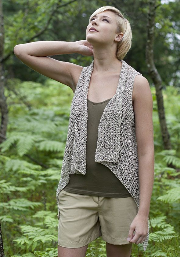 Seabrook Vest pattern from Berroco, knit, but easily translated into an open work crochet pattern with large hook for drape, using measurements, not stitches. Instead of binding off at armhole edge, slip stitch across. Then on return, chain instead of casting on, for armhole opening.