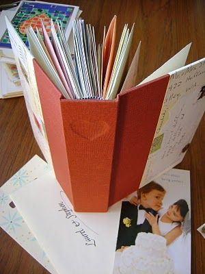 I saw some of these wedding card book on Pintrest... so I went in search of a professional-look book... look what I found! Plan to do this and throw my card box away...