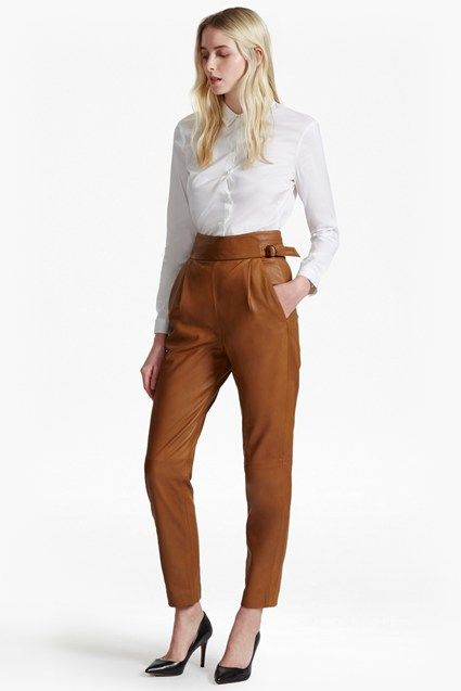 Goldenburg High Rise Leather Trousers | New Arrivals | French Connection Usa