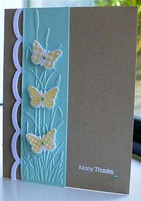 handmade card ... gray with aqua and yellow ... column with Darice Embossing Folder texture ... cattails ....small butterflies in yellow patterns popped on top ... like the clean look and trendy gray ...
