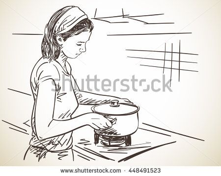 Sketch of woman on kitchen with pot, Hand drawn vector illustration