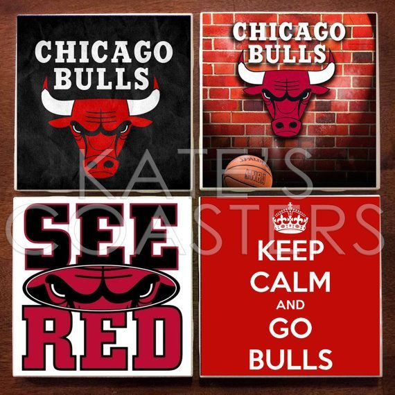 Set of 4 Chicago Bulls basketball ceramic tile coasters, by KatesCoasters, $10.00