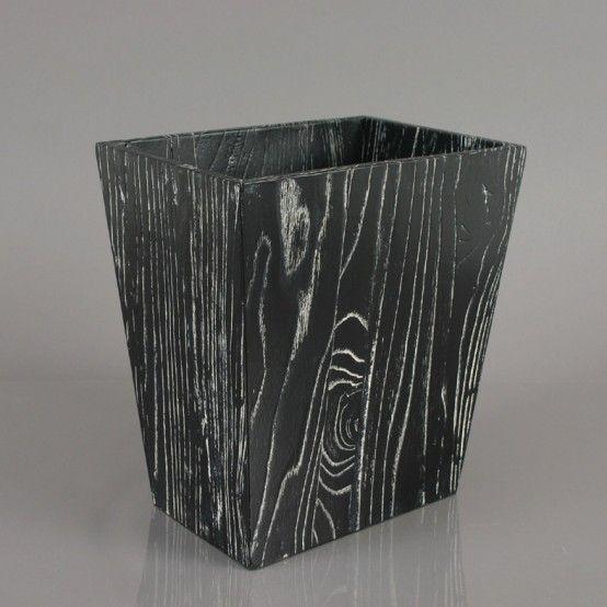 Modern Ebony Wood Waste Bin and Tissue Box With Striking Grain Patterns