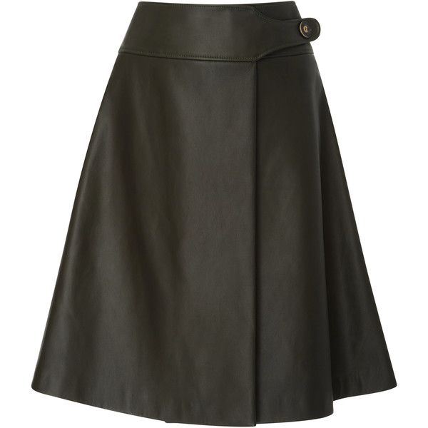 Carolina Herrera     Leather Midi Skirt (52.140.965 VND) ❤ liked on Polyvore featuring skirts, green, leather skirt, leather a line skirt, calf length skirts, green high waisted skirt and mid calf skirts