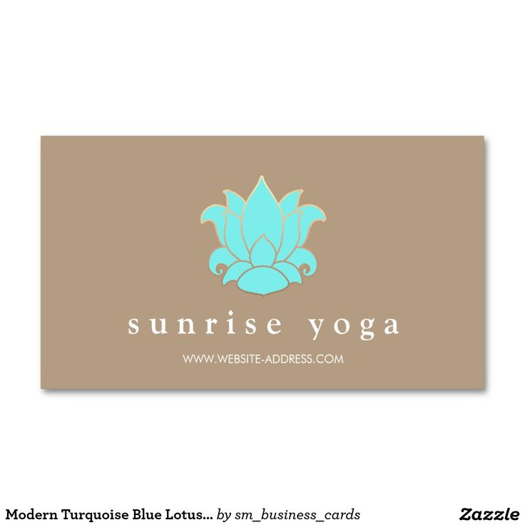 Modern Turquoise Blue Lotus Yoga Instructor Double-Sided Standard Business Cards (Pack Of 100)