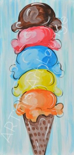 ice cream canvas painting - Google Search