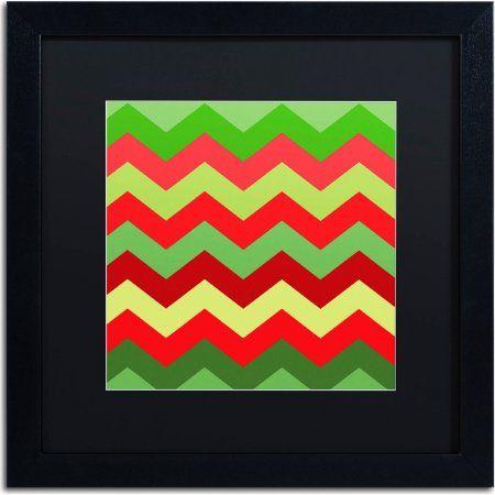 Trademark Fine Art Xmas Chevron Canvas Art by Color Bakery, Black Matte, Black Frame, Size: 16 x 16, Assorted