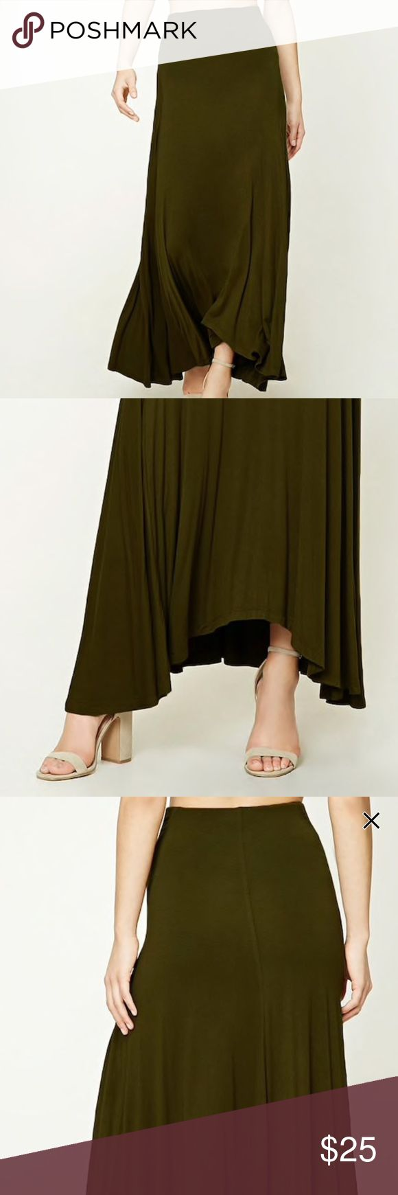 Olive green maxi skirt Olive green maxi skirt, size small, NWOT, worn one time. Has a high low hem, and is so flattering. This skirt is so comfy, you can literally where it anywhere(it can be dressed up or down!) SAY WHAAAT?!?🌿🌵 { BRAND IS FOR EXPOSURE, THIS IS NOT A FREE PEOPLE PIECE BUT IS OF ••EXCELLENT QUALITY•• } Skirts Maxi