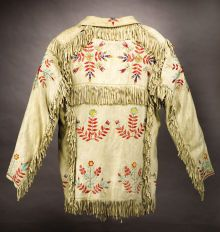 American Indian Art:Beadwork and Quillwork, A SIOUX QUILLED AND FRINGED HIDE JACKET. c. 1890. ...