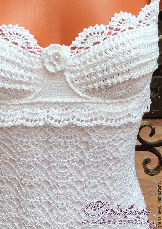 Купить Жасмин - вязаное летнее платье, сарафан крючком, весна - белый, вязаное платье