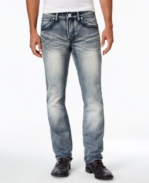 Inc International Concepts Men's Slim Straight Medium Wash Faded Jeans, Only at Macy's - Blue