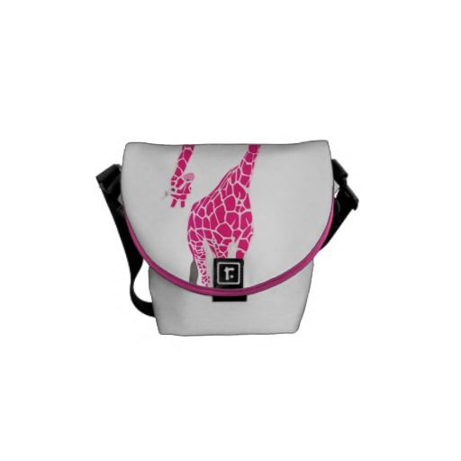 Funny cute pink tall Giraffe & hipster long neck Courier Bags
