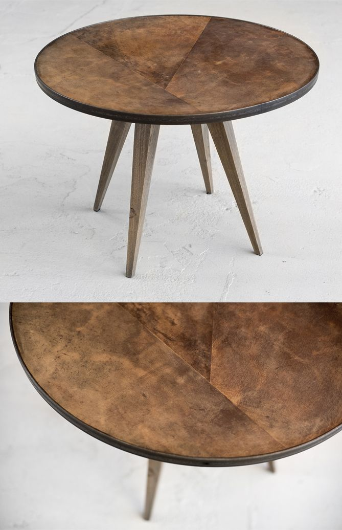 Leather design side table #leathersidetable - by VanGijs IN STOCK